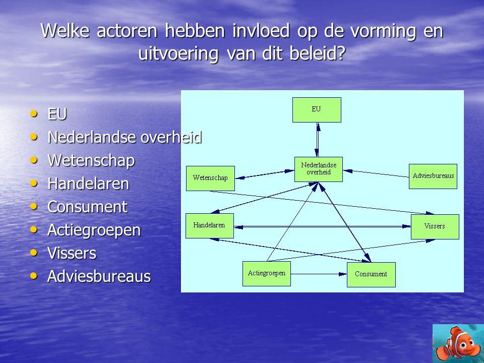 Welke actoren hebben invloed op de vorming en uitvoering van dit beleid? • EU • Nederlandse overheid • Wetenschap • Handelaren • Consument • Actiegroe