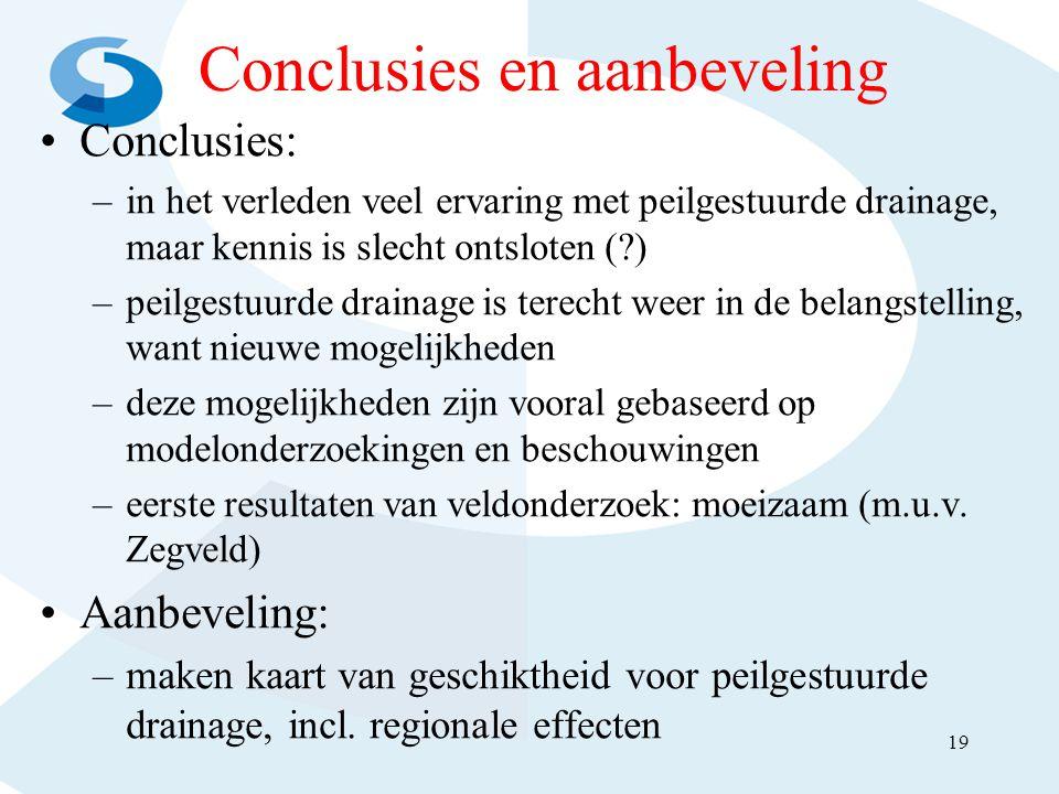 Conclusies en aanbeveling •Conclusies: –in het verleden veel ervaring met peilgestuurde drainage, maar kennis is slecht ontsloten (?) –peilgestuurde d