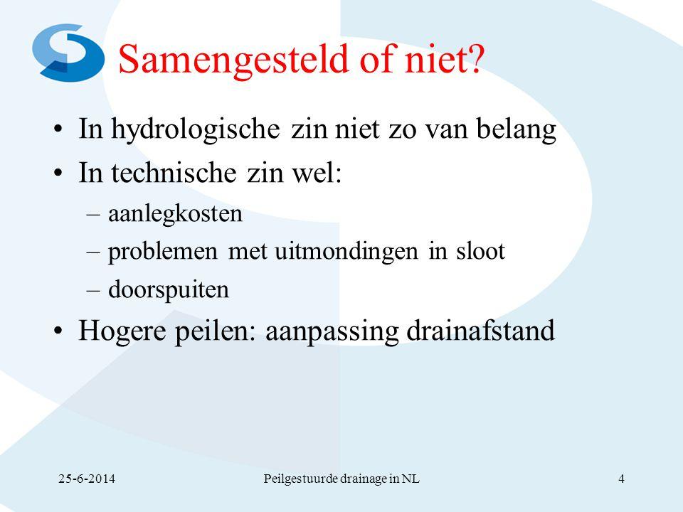 Samengesteld of niet? •In hydrologische zin niet zo van belang •In technische zin wel: –aanlegkosten –problemen met uitmondingen in sloot –doorspuiten