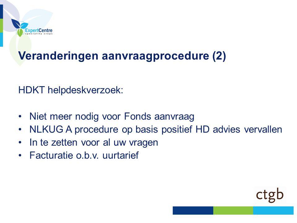 Veranderingen aanvraagprocedure (2) HDKT helpdeskverzoek: •Niet meer nodig voor Fonds aanvraag •NLKUG A procedure op basis positief HD advies vervalle