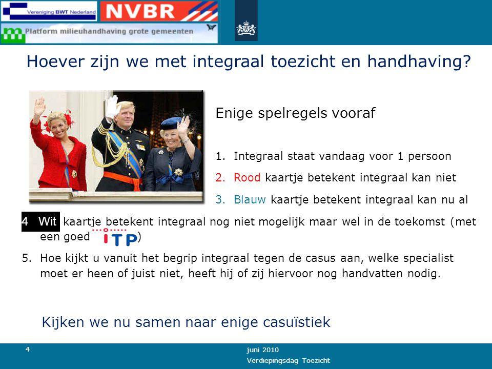 3 juni 2010 Verdiepingsdag Toezicht De eerste stappen naar integraal toezicht en handhaving Durf eens over de schutting te kijken