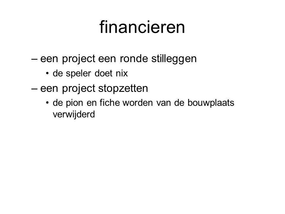 financieren –een project een ronde stilleggen •de speler doet nix –een project stopzetten •de pion en fiche worden van de bouwplaats verwijderd