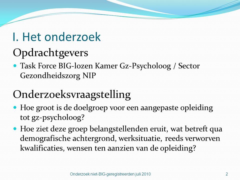 Onderzoek niet-BIG-geregistreerden juli 20102 I. Het onderzoek Opdrachtgevers  Task Force BIG-lozen Kamer Gz-Psycholoog / Sector Gezondheidszorg NIP