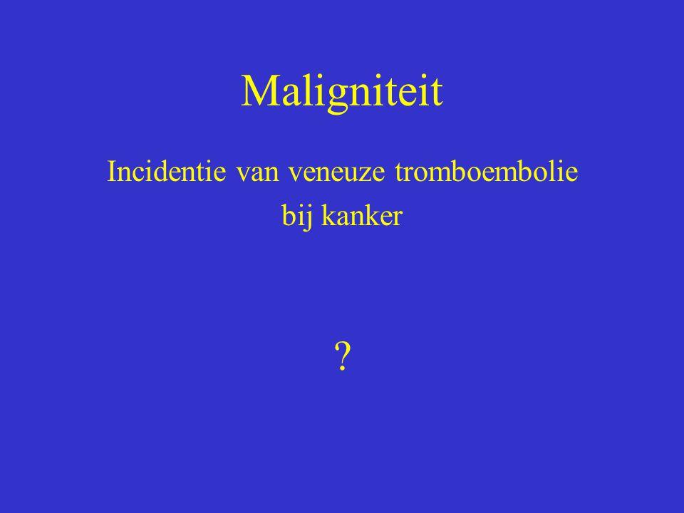 Maligniteit Incidentie van veneuze tromboembolie bij kanker ?