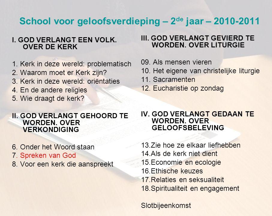 School voor geloofsverdieping – 2 de jaar – 2010-2011 I.
