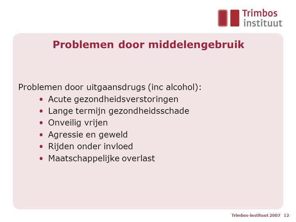 Trimbos-instituut 2007 12 Problemen door middelengebruik Problemen door uitgaansdrugs (inc alcohol): •Acute gezondheidsverstoringen •Lange termijn gezondheidsschade •Onveilig vrijen •Agressie en geweld •Rijden onder invloed •Maatschappelijke overlast