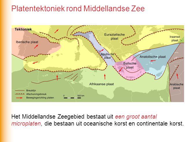 Het Middellandse Zeegebied bestaat uit een groot aantal microplaten, die bestaan uit oceanische korst en continentale korst.