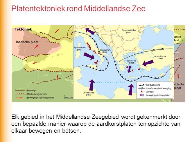 Elk gebied in het Middellandse Zeegebied wordt gekenmerkt door een bepaalde manier waarop de aardkorstplaten ten opzichte van elkaar bewegen en botsen.