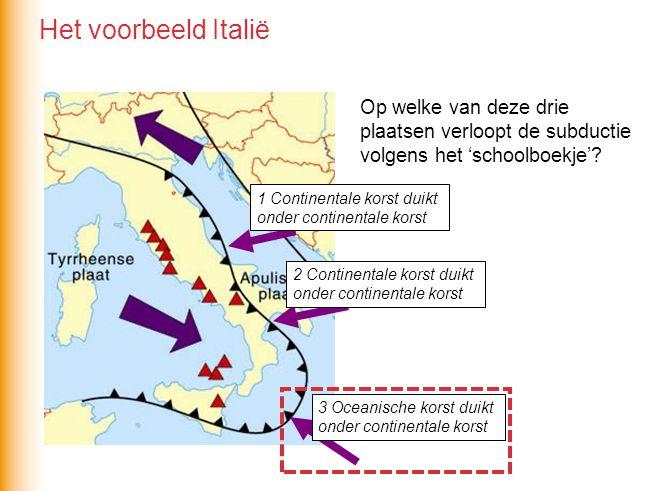 1 Continentale korst duikt onder continentale korst 3 Oceanische korst duikt onder continentale korst 2 Continentale korst duikt onder continentale korst Op welke van deze drie plaatsen verloopt de subductie volgens het 'schoolboekje'.