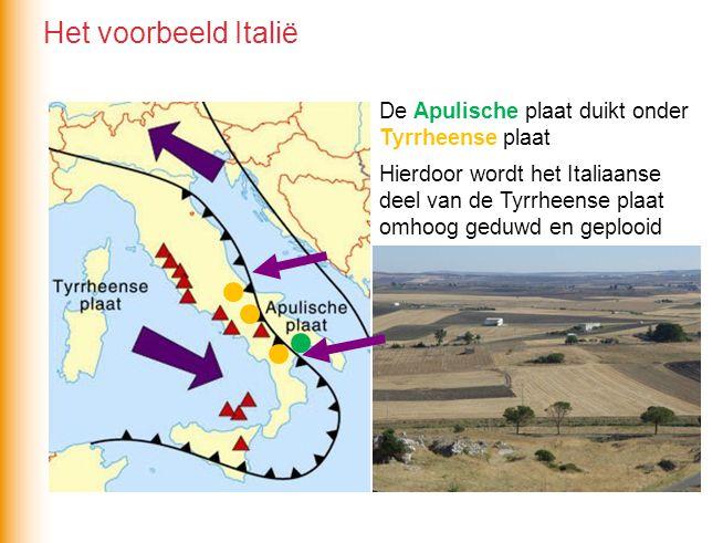 De Apulische plaat duikt onder Tyrrheense plaat Hierdoor wordt het Italiaanse deel van de Tyrrheense plaat omhoog geduwd en geplooid Het voorbeeld Italië
