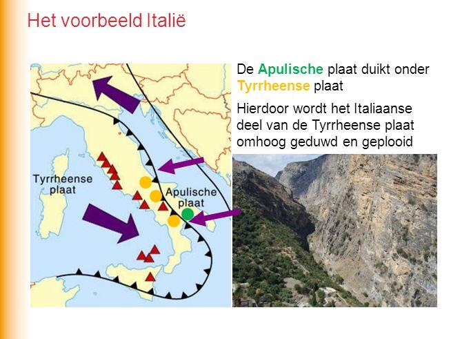 De Apulische plaat duikt onder Tyrrheense plaat Hierdoor wordt het Italiaanse deel van de Tyrrheense plaat omhoog geduwd en geplooid