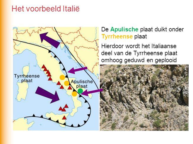 Het voorbeeld Italië De Apulische plaat duikt onder Tyrrheense plaat Hierdoor wordt het Italiaanse deel van de Tyrrheense plaat omhoog geduwd en geplooid