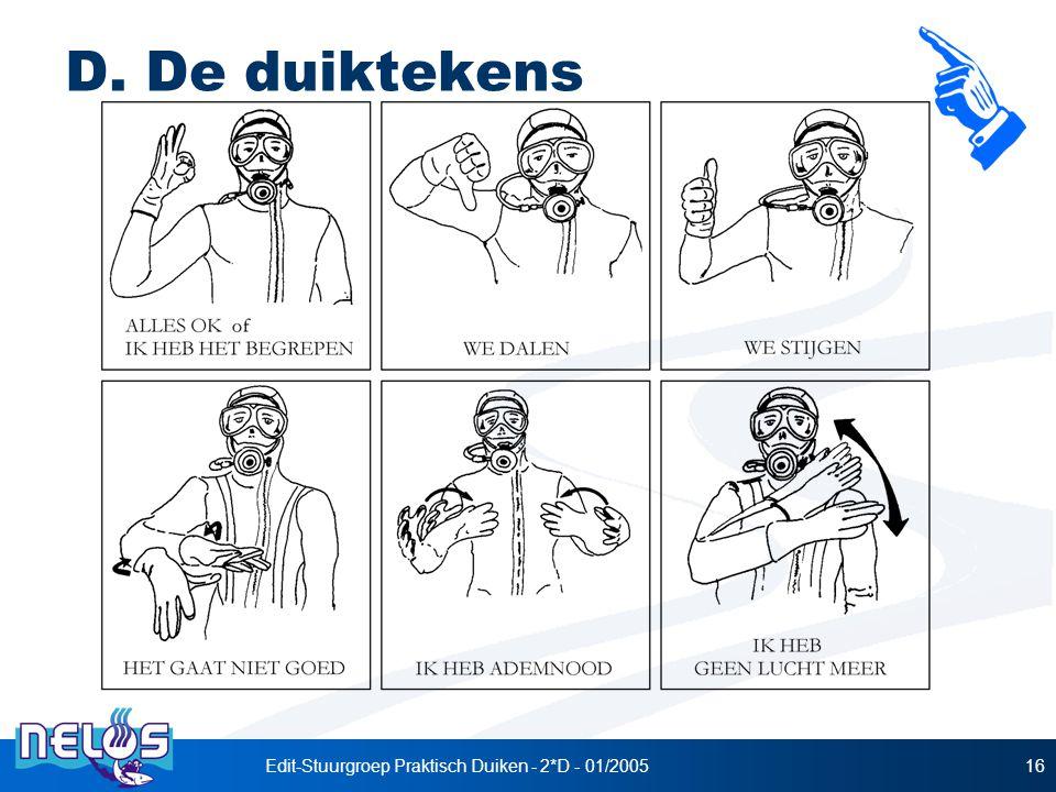 Edit-Stuurgroep Praktisch Duiken - 2*D - 01/200516 D. De duiktekens