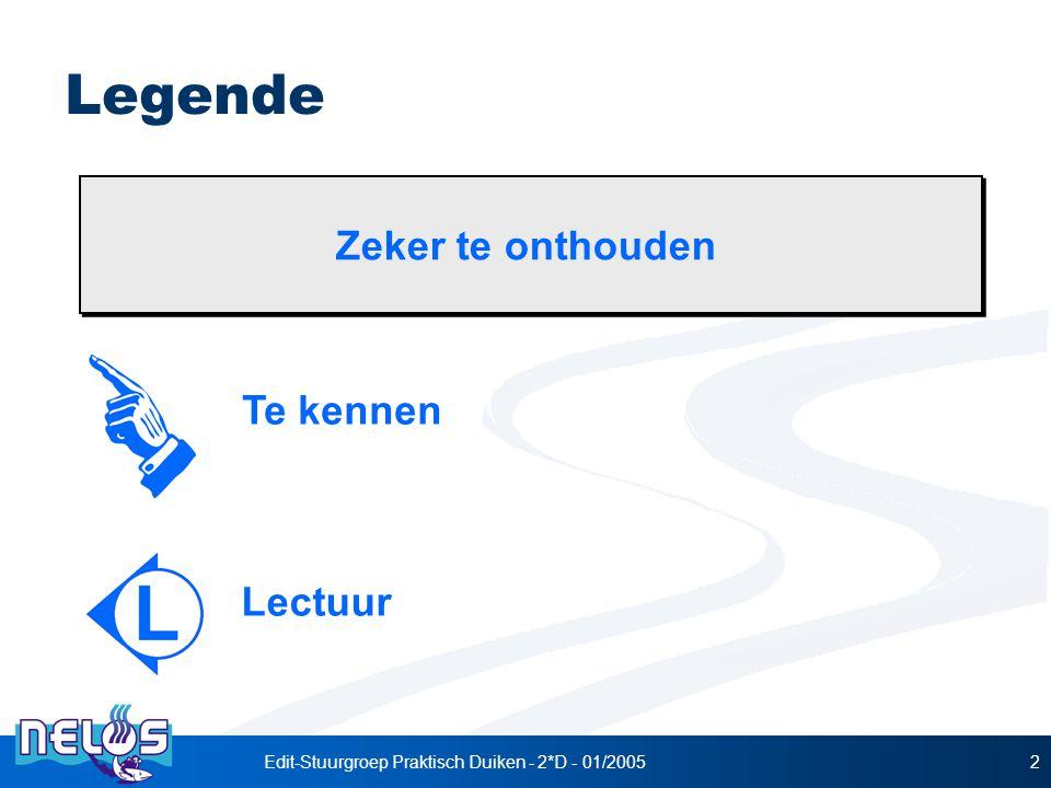 Edit-Stuurgroep Praktisch Duiken - 2*D - 01/20052 Legende Te kennen Lectuur Zeker te onthouden