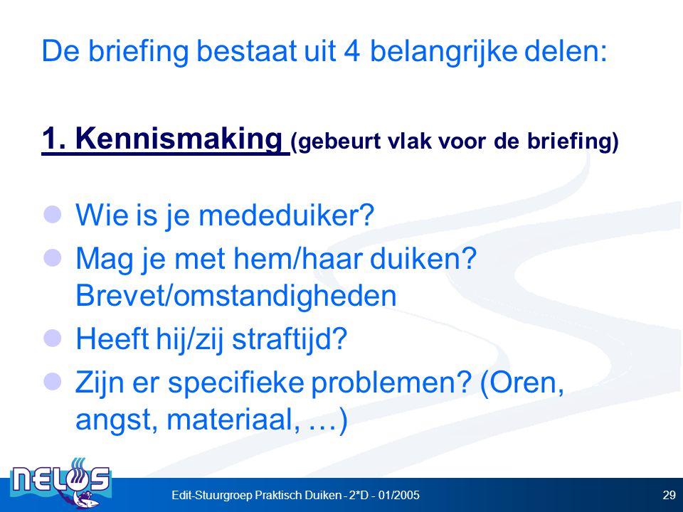 Edit-Stuurgroep Praktisch Duiken - 2*D - 01/200529 De briefing bestaat uit 4 belangrijke delen: 1.