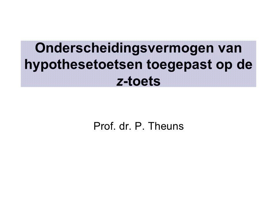 Onderscheidingsvermogen van hypothesetoetsen toegepast op de z-toets Prof. dr. P. Theuns