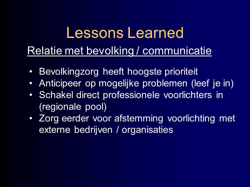 Lessons Learned Relatie met bevolking / communicatie •Bevolkingzorg heeft hoogste prioriteit •Anticipeer op mogelijke problemen (leef je in) •Schakel