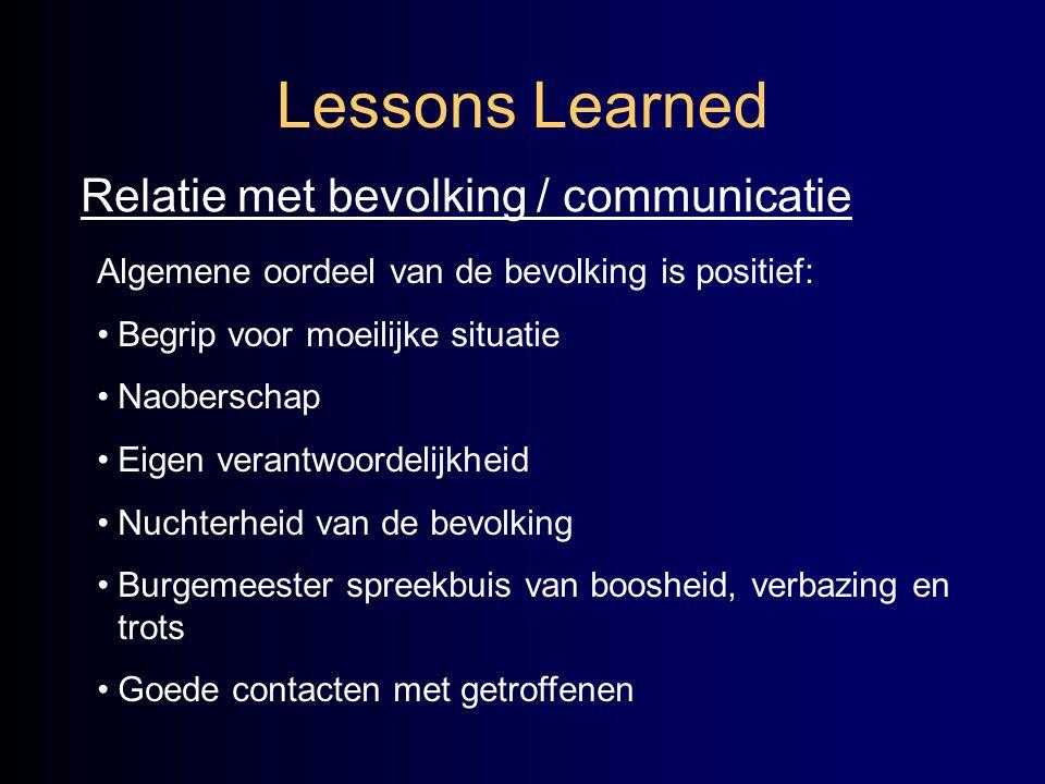 Lessons Learned Relatie met bevolking / communicatie Algemene oordeel van de bevolking is positief: •Begrip voor moeilijke situatie •Naoberschap •Eige