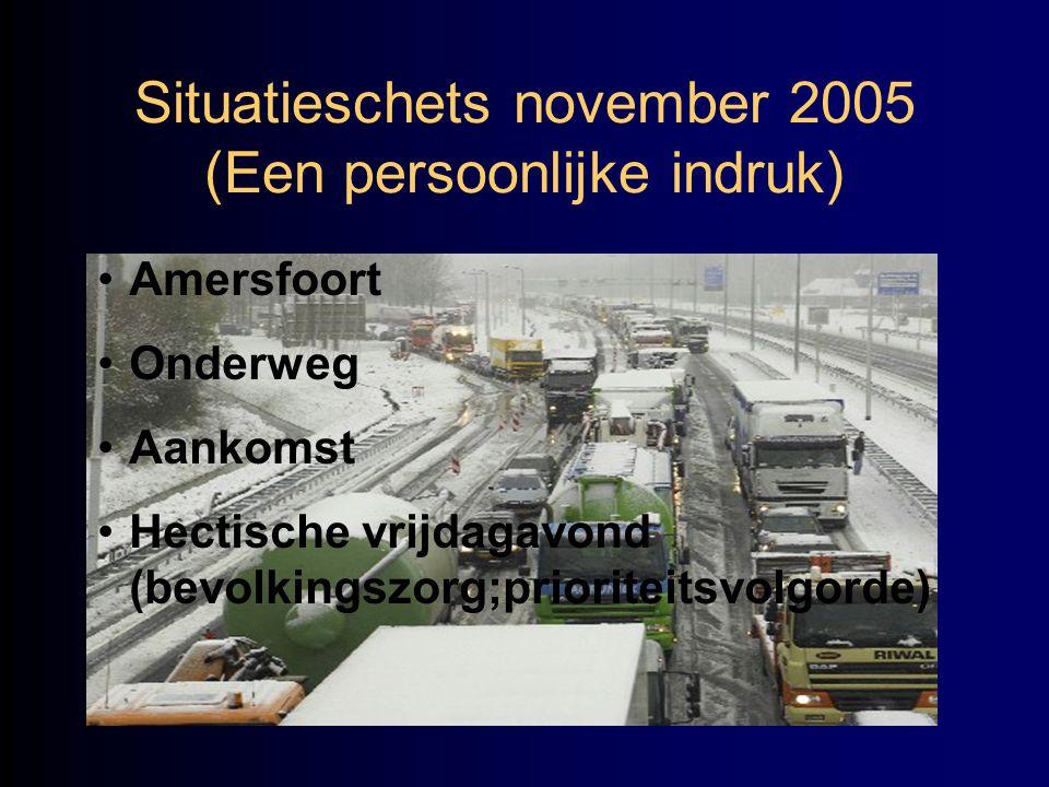 Situatieschets november 2005 (Een persoonlijke indruk) •Amersfoort •Onderweg •Aankomst •Hectische vrijdagavond (bevolkingszorg;prioriteitsvolgorde)