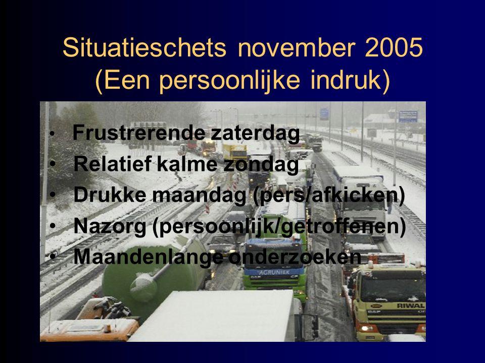 Situatieschets november 2005 (Een persoonlijke indruk) • Frustrerende zaterdag • Relatief kalme zondag • Drukke maandag (pers/afkicken) • Nazorg (pers