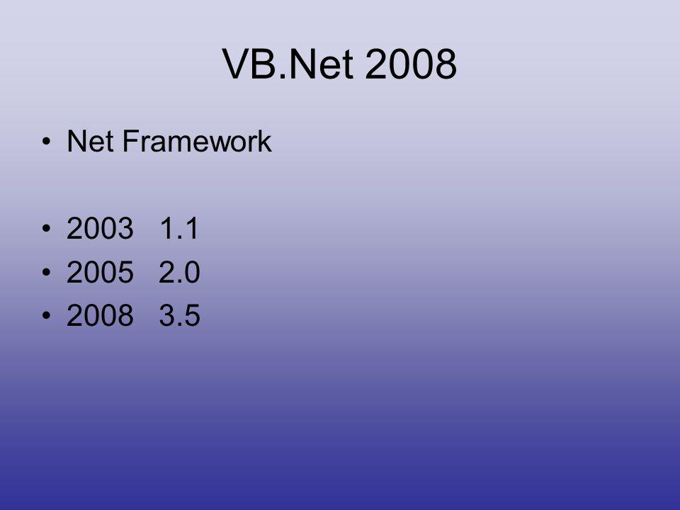 VB.Net 2008 •Net Framework •2003 1.1 •2005 2.0 •2008 3.5