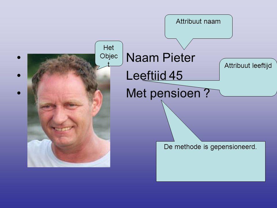 • Naam Pieter • Leeftijd 45 • Met pensioen ? Het Objec t Attribuut naam Attribuut leeftijd De methode is gepensioneerd.