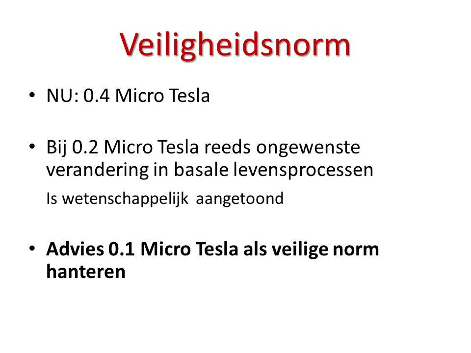 • NU: 0.4 Micro Tesla • Bij 0.2 Micro Tesla reeds ongewenste verandering in basale levensprocessen Is wetenschappelijk aangetoond • Advies 0.1 Micro T