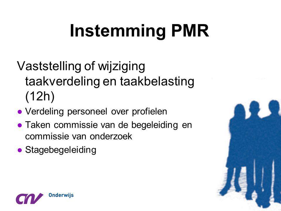 Instemming PMR Vaststelling of wijziging taakverdeling en taakbelasting (12h) ●Verdeling personeel over profielen ●Taken commissie van de begeleiding