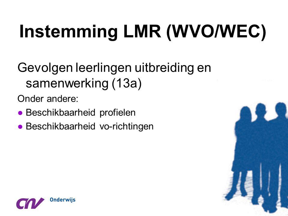 Instemming LMR (WVO/WEC) Gevolgen leerlingen uitbreiding en samenwerking (13a) Onder andere: ●Beschikbaarheid profielen ●Beschikbaarheid vo-richtingen