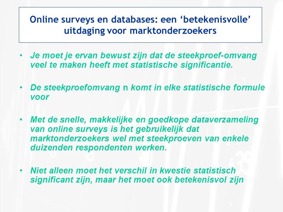 Online surveys en databases: een 'betekenisvolle' uitdaging voor marktonderzoekers •Je moet je ervan bewust zijn dat de steekproef-omvang veel te maken heeft met statistische significantie.