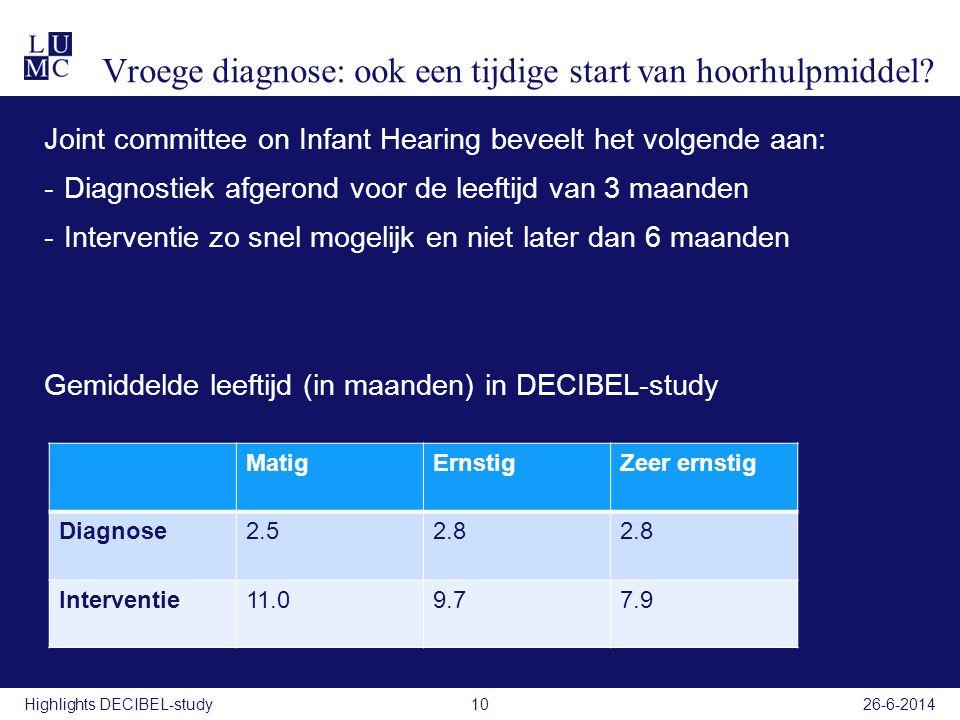 Vroege diagnose: ook een tijdige start van hoorhulpmiddel? Joint committee on Infant Hearing beveelt het volgende aan: -Diagnostiek afgerond voor de l