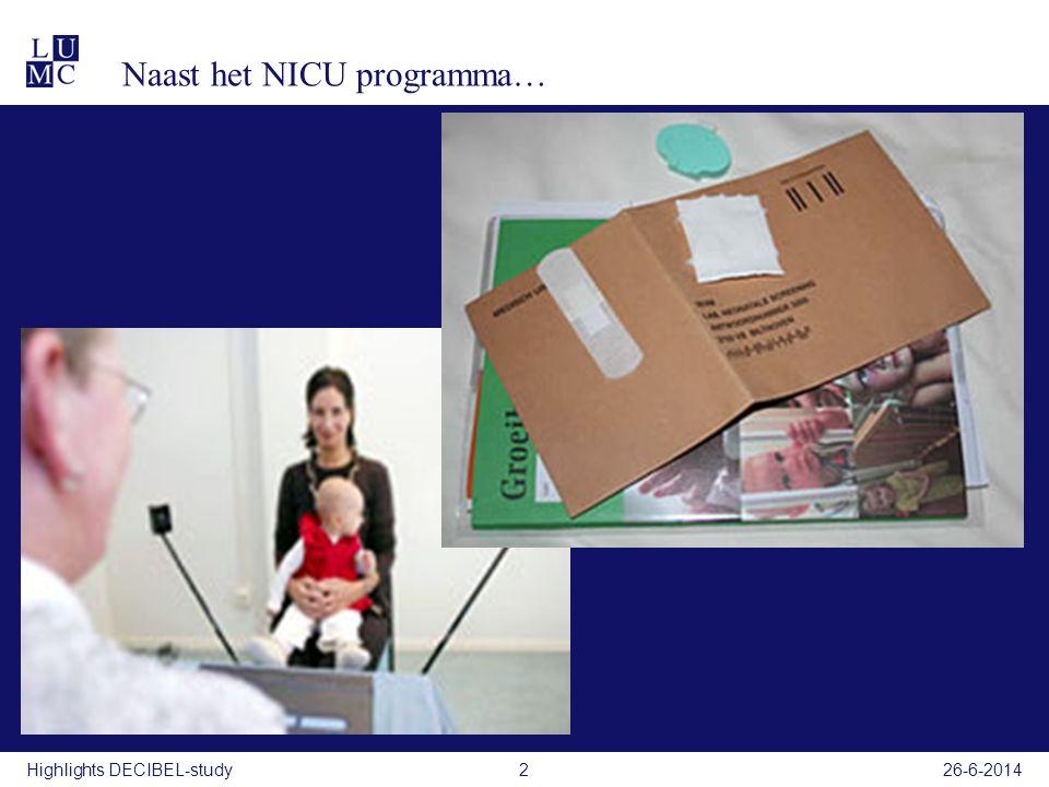 26-6-2014DECIBEL-study3 Gehoorscreening in Nederland Ewing/Capas gehoorscreeningNeonatale gehoorscreening Leeftijd 9 maanden< 2 weken Type Distractie-methode (3 traps screening strategie) Via CB: Oto-acoustische emissies(OAE) (2x) en Automatische Brainstem Response (AABR) Via NICU: AABR Registratie Ontbreekt CB: NSDSK NICU: TNO/ Isala Klinieken Voordelen Progressief/delayed onset gehoorverlies kan opgespoord worden Objectief <0,5% verwijzing Vroege detectie Nadelen Subjectief 7 % verwijzing Detectie bij 15-18 mnd Kind met ontwikkelingsachterstand/ visuele stoornis moeilijk testbaar Progressief/ later optredend gehoorverlies kan gemist worden 3Highlights DECIBEL-study26-6-2014