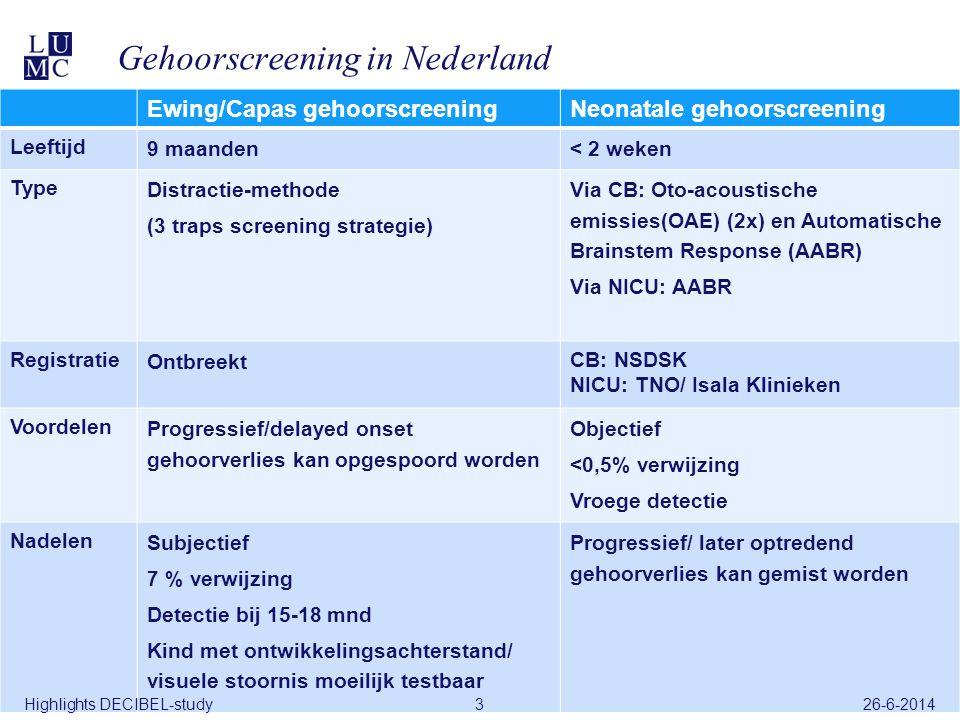 26-6-2014DECIBEL-study3 Gehoorscreening in Nederland Ewing/Capas gehoorscreeningNeonatale gehoorscreening Leeftijd 9 maanden< 2 weken Type Distractie-