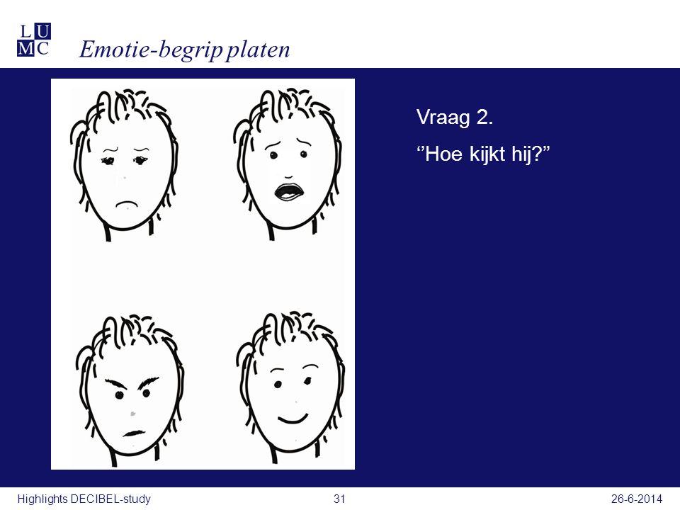 Filmpje Vraag 2. ''Hoe kijkt hij?'' Emotie-begrip platen 26-6-201431Highlights DECIBEL-study