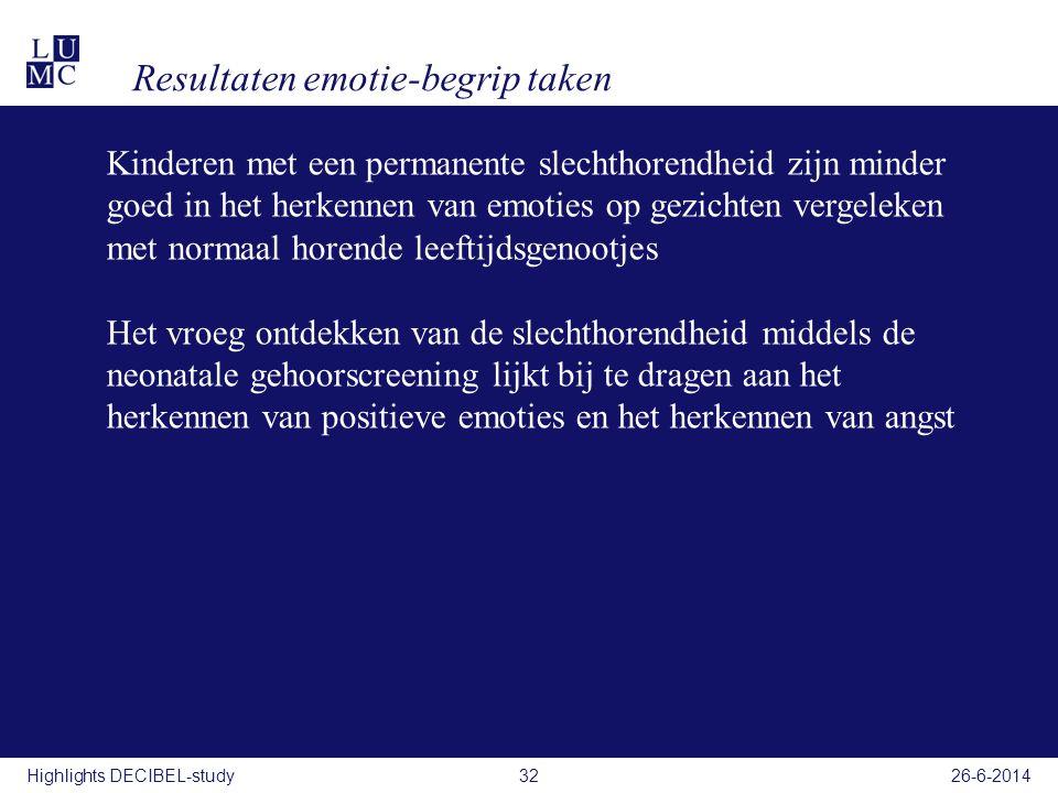 Resultaten emotie-begrip taken 26-6-201432Highlights DECIBEL-study Kinderen met een permanente slechthorendheid zijn minder goed in het herkennen van