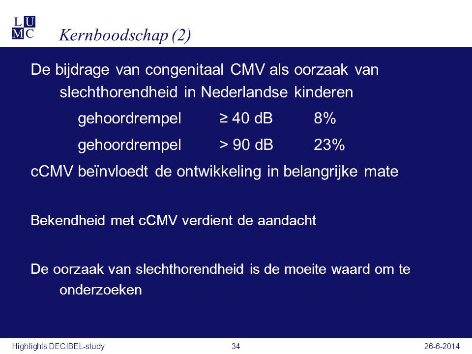Kernboodschap (2) De bijdrage van congenitaal CMV als oorzaak van slechthorendheid in Nederlandse kinderen gehoordrempel ≥ 40 dB8% gehoordrempel> 90 d