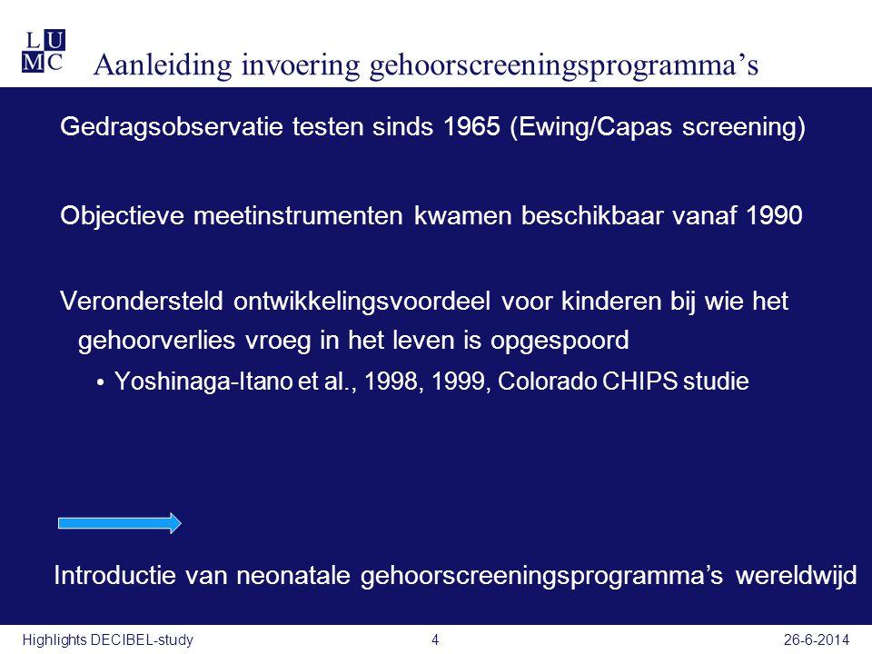 Aanleiding invoering gehoorscreeningsprogramma's Gedragsobservatie testen sinds 1965 (Ewing/Capas screening) Objectieve meetinstrumenten kwamen beschi
