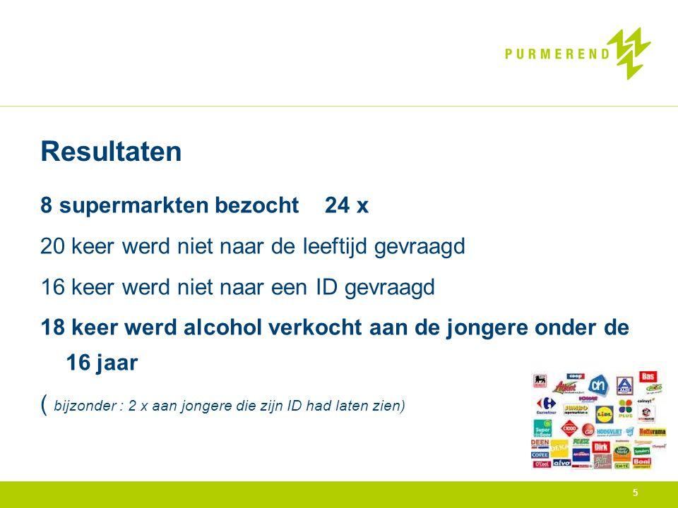 5 Resultaten 8 supermarkten bezocht 24 x 20 keer werd niet naar de leeftijd gevraagd 16 keer werd niet naar een ID gevraagd 18 keer werd alcohol verkocht aan de jongere onder de 16 jaar ( bijzonder : 2 x aan jongere die zijn ID had laten zien)