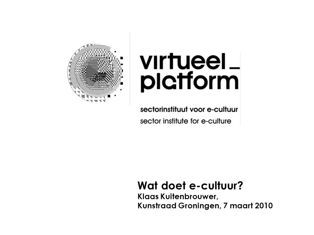 Status van e-cultuur Het beeldlogo van Virtueel Platform is een momentopname van e-cultuur.
