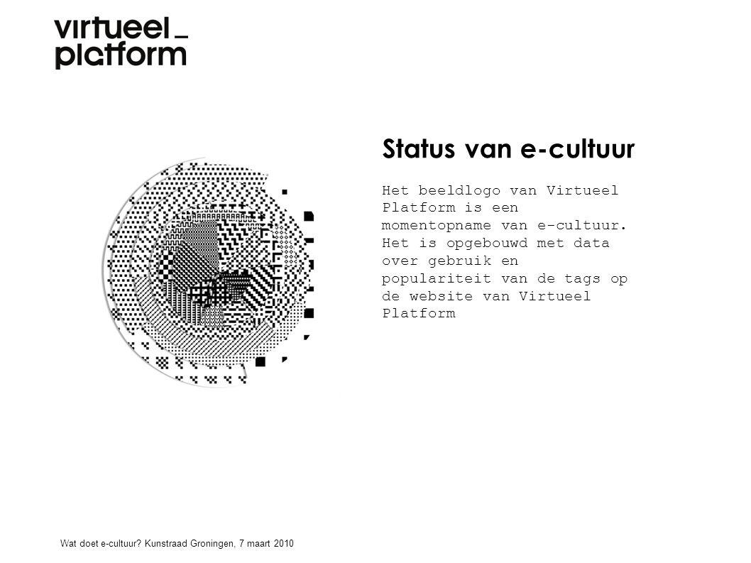 Status van e-cultuur Het beeldlogo van Virtueel Platform is een momentopname van e-cultuur. Het is opgebouwd met data over gebruik en populariteit van