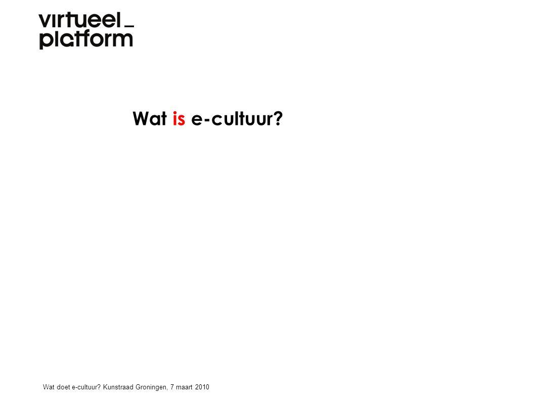 Wat doet e-cultuur? Wat doet e-cultuur? Kunstraad Groningen, 7 maart 2010