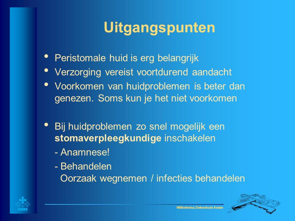 Wilhelmina Ziekenhuis Assen Huidproblemen • Huidirritatie (toxisch/ afsluiting) • Granulomen • Contactallergie/ intolerantie • Huidinfectie (bacterieel/schimmel) • Folliculitis • Maceratie • Stripeffect Minder voorkomende huidproblemen: •Hyperkeratose •Pyoderma Gangrenosum •Ulceratie •Predisponerende (andere huidaandoeningen) factoren