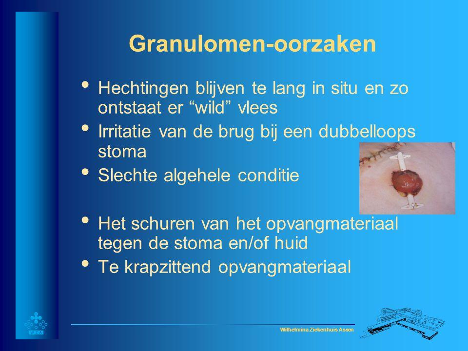 Wilhelmina Ziekenhuis Assen Granulomen-behandeling • Granulomen rondom de stoma: - soepele huidplak - goede stomamal knippen - aanstippen met zilvernitraat (i.o.m.