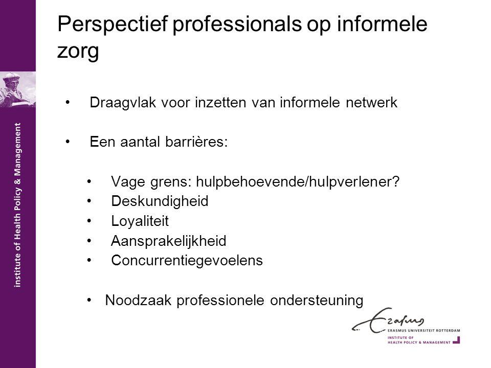 Perspectief professionals op informele zorg •Draagvlak voor inzetten van informele netwerk •Een aantal barrières: •Vage grens: hulpbehoevende/hulpverl