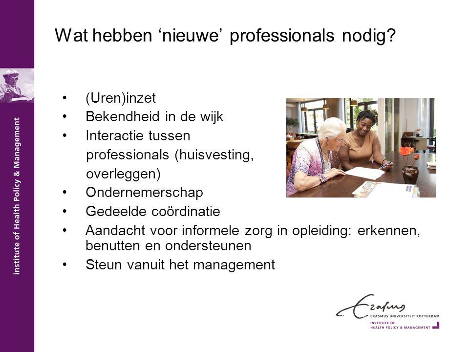 Wat hebben 'nieuwe' professionals nodig? •(Uren)inzet •Bekendheid in de wijk •Interactie tussen professionals (huisvesting, overleggen) •Ondernemersch