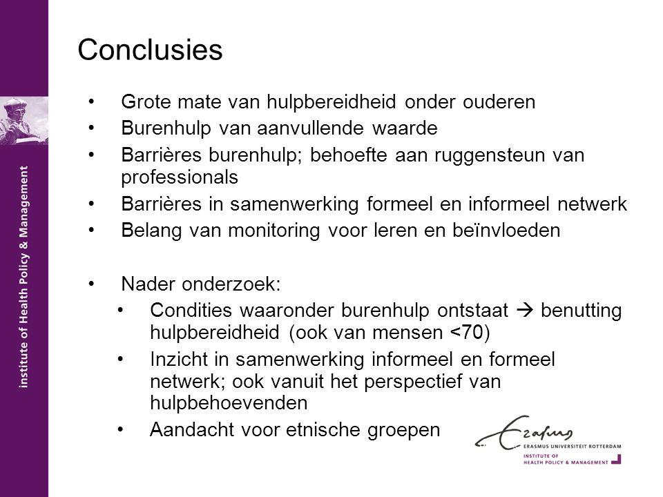 Conclusies •Grote mate van hulpbereidheid onder ouderen •Burenhulp van aanvullende waarde •Barrières burenhulp; behoefte aan ruggensteun van professio