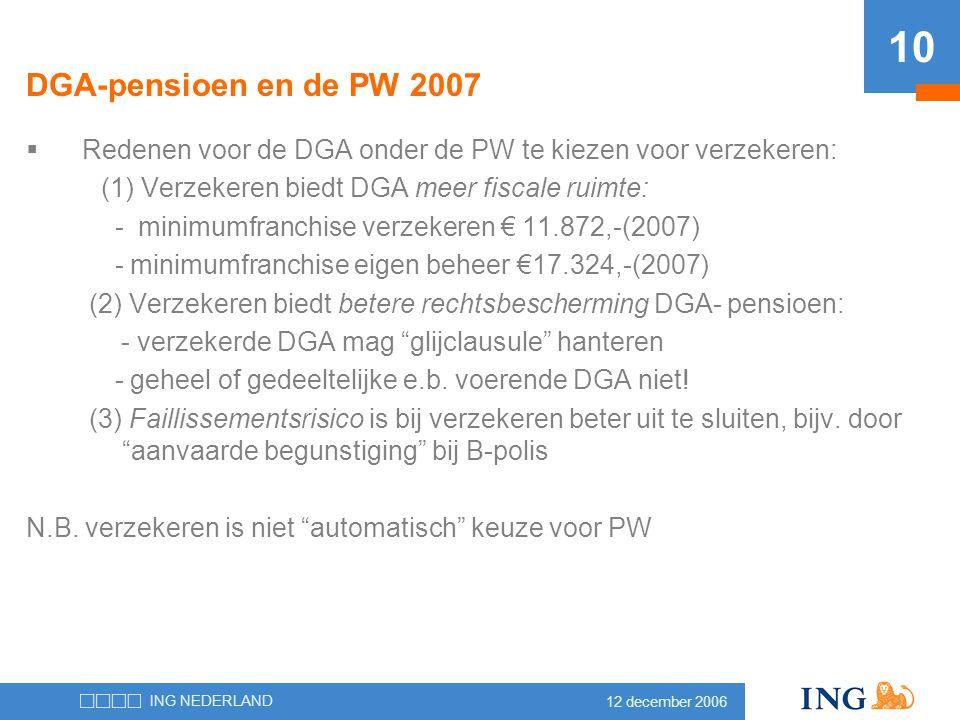 12 december 2006 ING NEDERLAND 10 DGA-pensioen en de PW 2007  Redenen voor de DGA onder de PW te kiezen voor verzekeren: (1) Verzekeren biedt DGA mee
