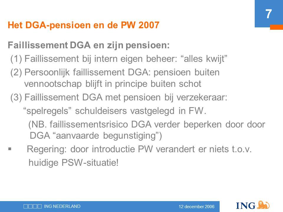 """12 december 2006 ING NEDERLAND 7 Het DGA-pensioen en de PW 2007 Faillissement DGA en zijn pensioen: (1) Faillissement bij intern eigen beheer: """"alles"""