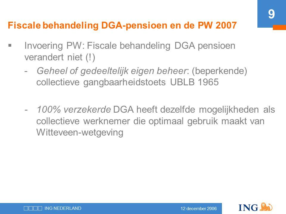 12 december 2006 ING NEDERLAND 9  Invoering PW: Fiscale behandeling DGA pensioen verandert niet (!) -Geheel of gedeeltelijk eigen beheer: (beperkende