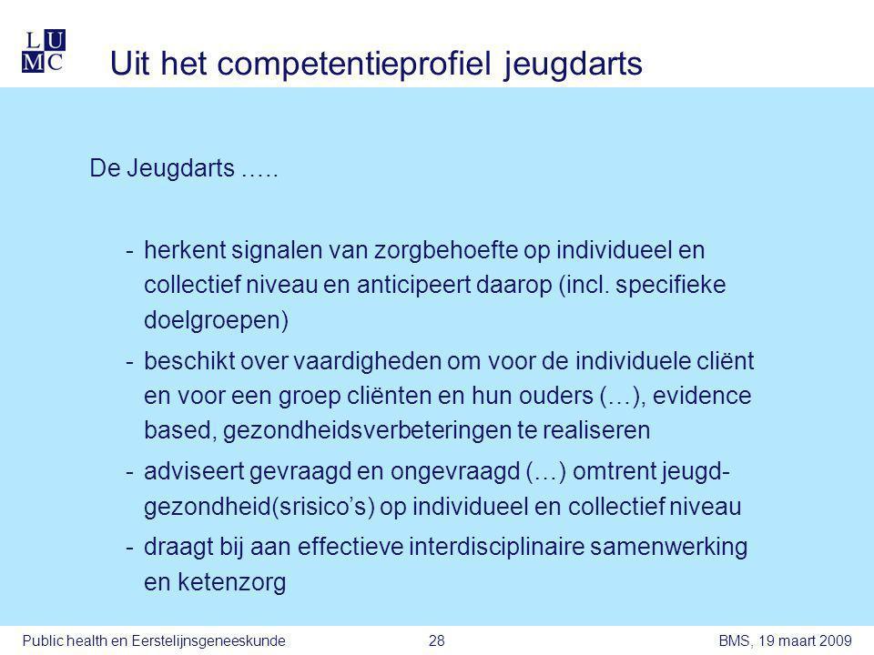 BMS, 19 maart 2009Public health en Eerstelijnsgeneeskunde28 Uit het competentieprofiel jeugdarts De Jeugdarts …..